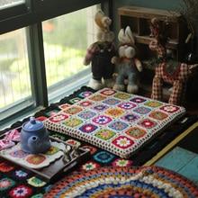 Handmade South Korean TV square thick sofa mat Tea Ceremony Hand hooked fashion crochet blanket cushion