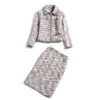 European and American women's wear autumn 2018 The new Long sleeve lapel Nail bead single breasted coat + skirts Tweed suit