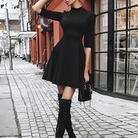 Sexy Black Dress With High Neck And Elbow Length Sleeves
