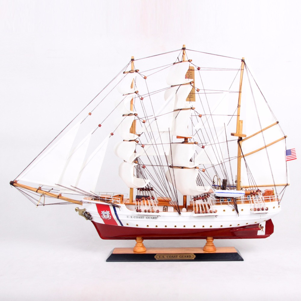 65cm World Famous Sailing Boat Model Gift Antique Wood Yacht Ornament  Artificial Sailboat Craft Christmas New Year Decorationin Figurines &  Miniatures From