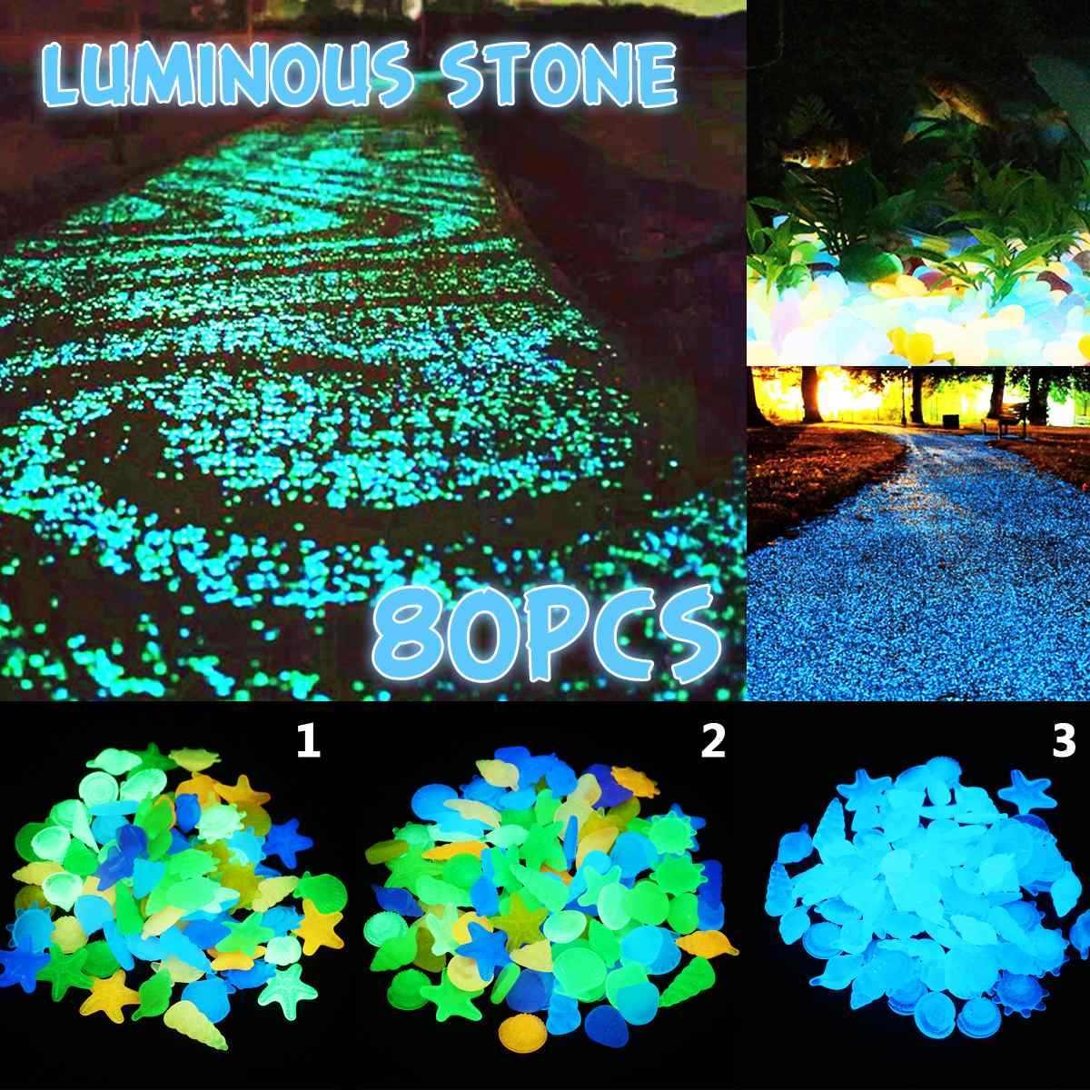80 sztuk Luminous piasek kamienie ogród Park Road blask w ciemności ozdoby na imprezę akwarium Fish Tank dekoracji ozdoby z kamienia