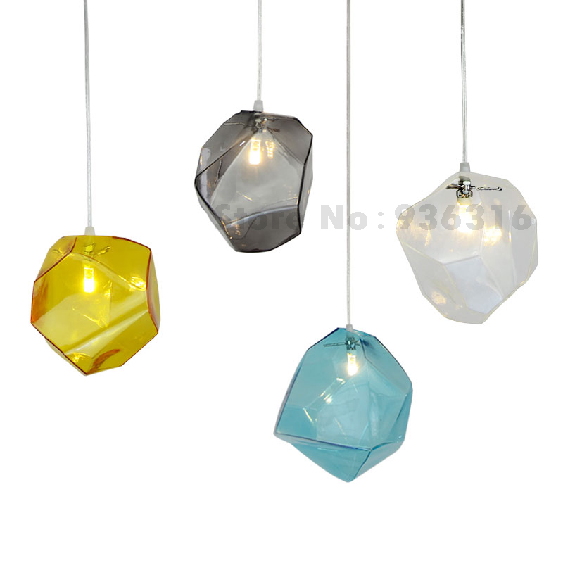 Modern Colorful Color Stone Glass Pendant Lights Retro Hanging Restaurant Lustres G4 LED Bulbs Fixture indoor lighting modern colorful color stone glass pendant lights retro hanging restaurant lustres g4 led bulbs fixture indoor lighting