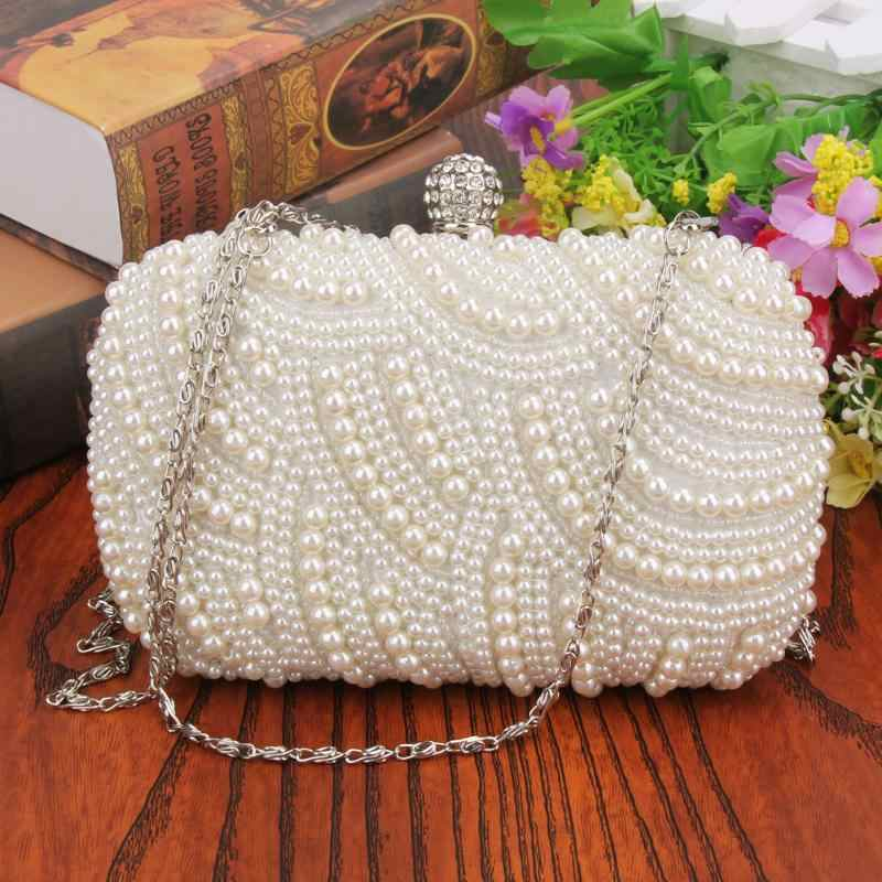 Luxe Crystal Evening Clutch Bag Lady Elegant Wedding Portemonnee Nieuwe Vrouwen Ovale Parel Kralen Handtas Partij Strass Parel