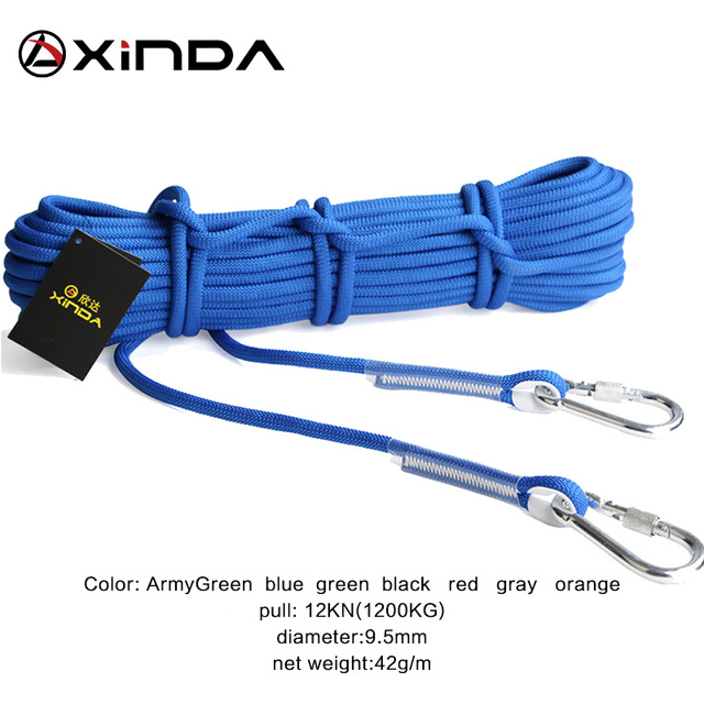 XINDA 10M Professional Rock Climbing Cord Outdoor Hiking Accessories Rope 9.5mm Diameter 2600lbs High Strength Cord Safety Rope 5