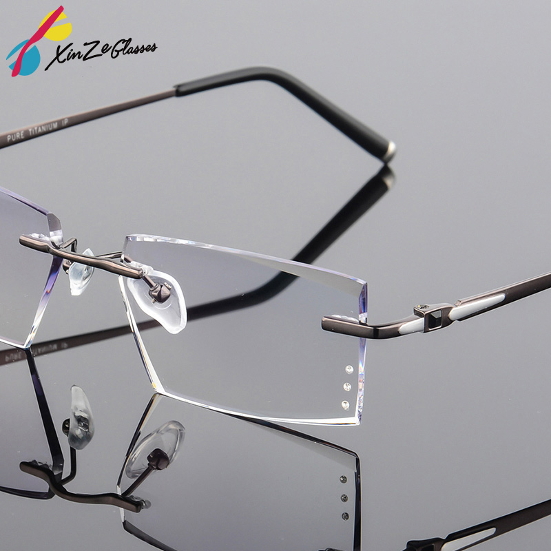 f6f14b368b71 XINZE Fashion Titanium Eyeglass Diamond Trimming Cutting Rimless Eyeglasses  Prescription Optical Glasses Frame for Men Eyewear
