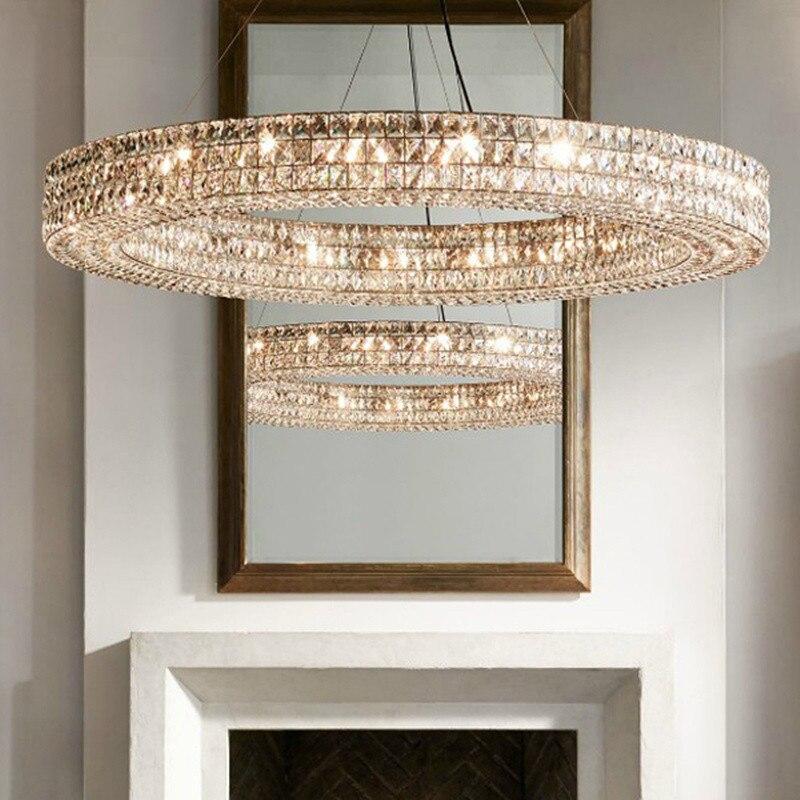 Lumière de luxe RH américain lustre RH moderne salon lampe en cristal nouveau cercle classique luxe villa sortie restaurant lumière