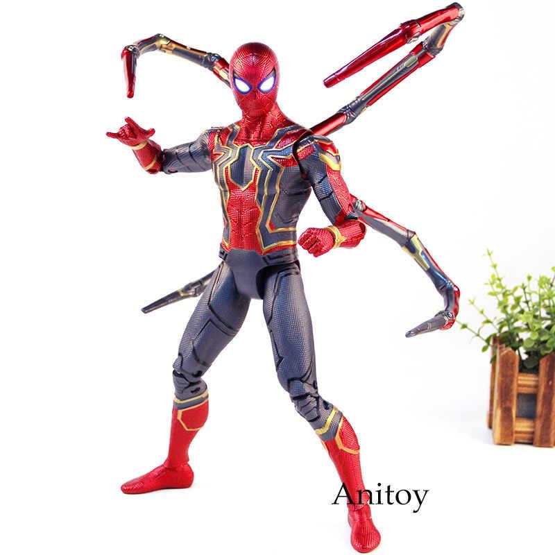 أعجوبة المنتقمون إنفينيتي الحرب الحديد العنكبوت سبايدرمان عمل الشكل بك جمع نموذج اللعب مع عيون الإضاءة 36 سنتيمتر