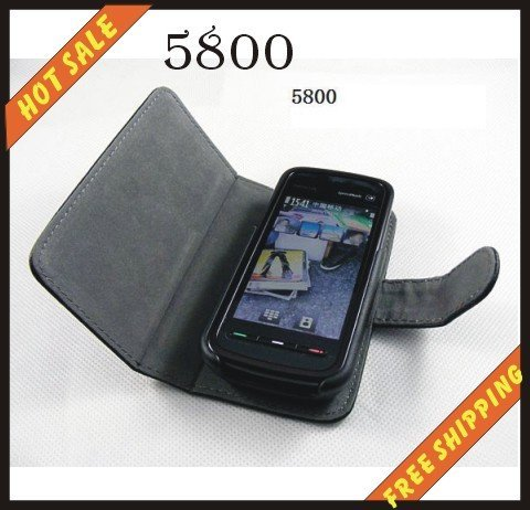 Free shipping --New high quality leather case cellphone for NOKIA 5800