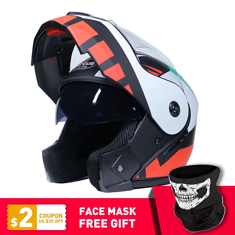 2019 New Motorcycle Helmet Racing Modular Dual Lens Motorbike Moto Helmet Flip Up Full Face Helmets