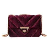 Для женщин V Форма ромбовидная решетка сумка велюр сумочку превратить блокировки роскошные дамы сумочку замши цепи стеганые Сумки на плечо