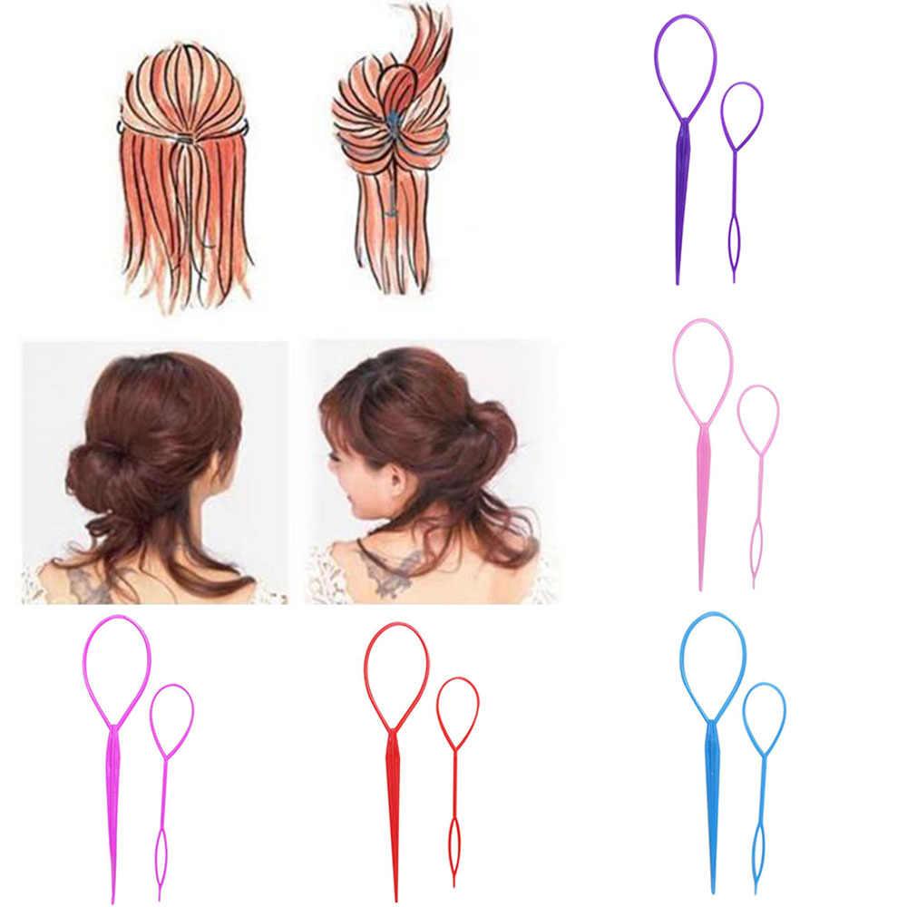 Popular 2 pçs rabo de cavalo criador plástico loop ferramentas estilo preto topsy pônei topsy cauda clipe de cabelo trança criador ferramenta estilo moda
