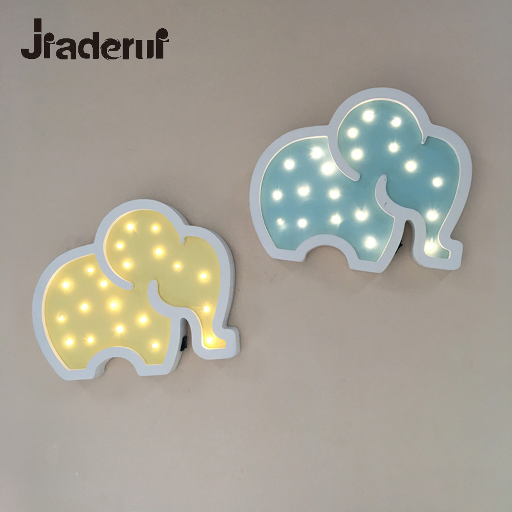 Jiaderui Wooden Elephant Led Night Light Baby Kids Gifts Wall Desk Lamp Bedside Bedroom Living Room Home Indoor Decorations Lamp home decor cartoon sheep bedside desk led night light