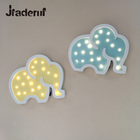 Jiaderui Wooden Elephant Led Night Light Baby Kids Gifts Wall Desk Lamp Bedside Bedroom Living Room Home Indoor Decorations Lamp
