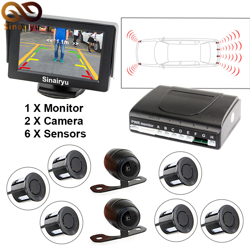 Sinairyu New Dual Channel Car Video Parking 6 Sensor Monitor with Front View Camera and Rear view Camera + 4.3 Car Monitor