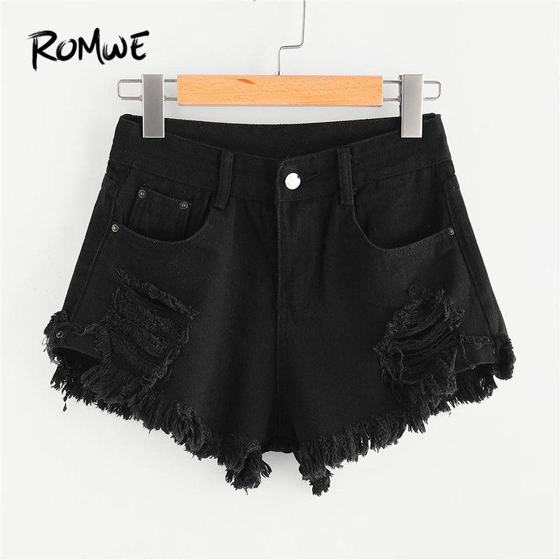 ROMWE Frayed Edge Ripped Denim Shorts Black Solid Awesome Delicate Women Shorts 2019 Fabulous Mid Waist Summer Shorts
