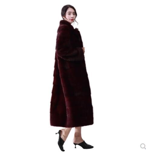 black Vison Importé Mode Dames Luxe Marque Saphire sable Survêtement Célèbre 100 Longue Manteau Fourrure 100 De Réel Sable white HTqq7n0