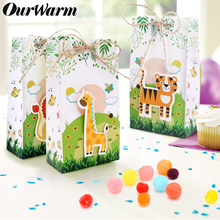OurWarm 6pcs Paper Bag Jungle Safari Animals Party Animal Candy Box Theme Birthday Supplies Baby Shower