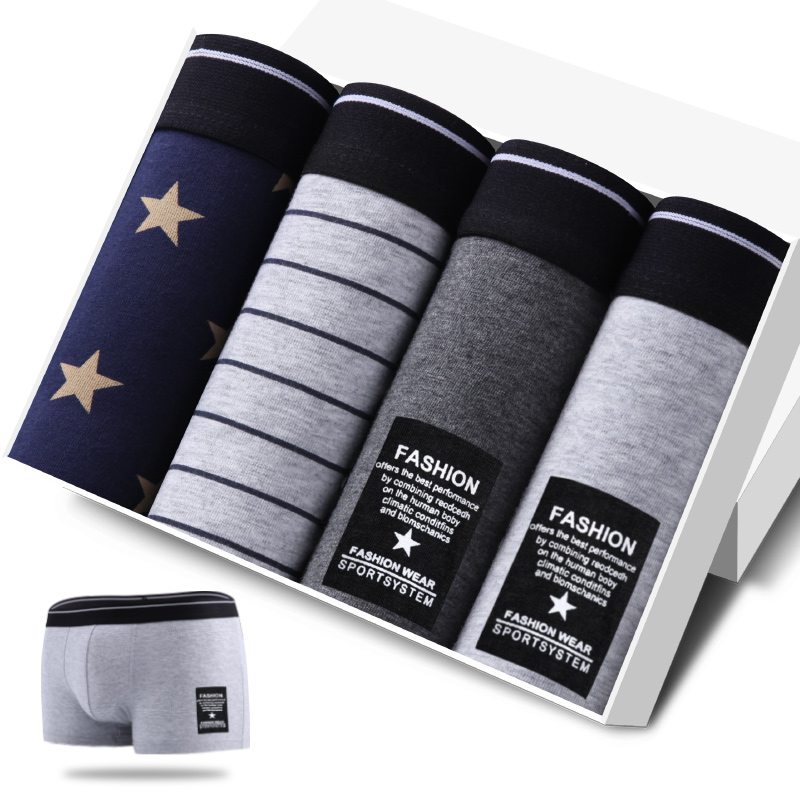 JOYOUS LUCKY Mens Underwear Ultimate Soft Cotton Boxer Shorts 4 pcs Mens Breathable Fitted Boxers Stripe Black Gray Navy Gift