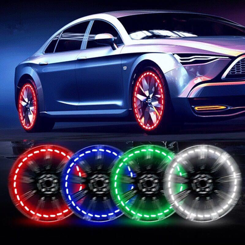 [1PCS] Car And Motorcycle Solar Wheel Lights Decorative LED Tire Lights Colorful Valve Lights Modified Hot Wheels Lights