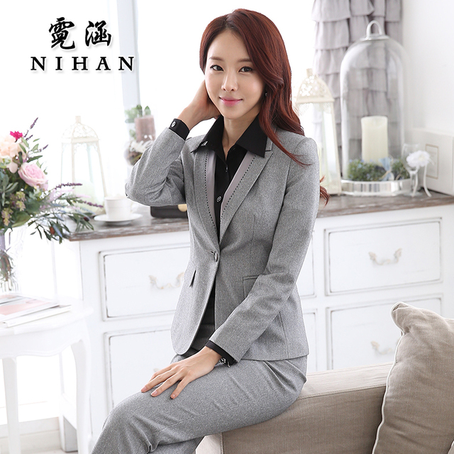 Han Ni 2015 new winter wear women's clothing OL temperament interview chaps fitted ladies dress suit