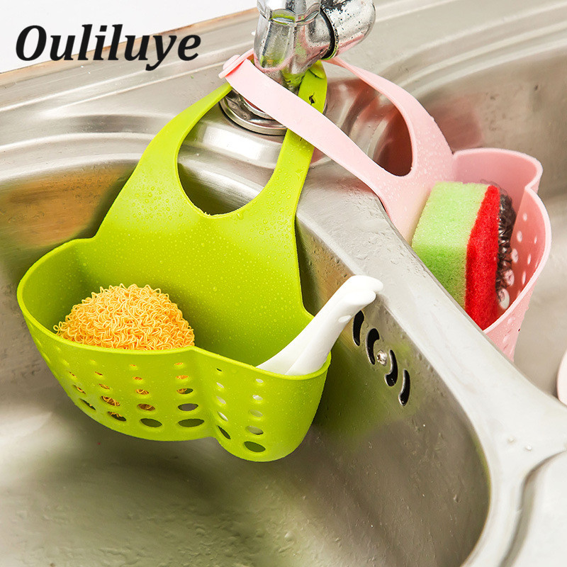 Portable Sink Basket Kitchen Strainer Hanging Drain Storage Faucet Holder Organizer Accessories