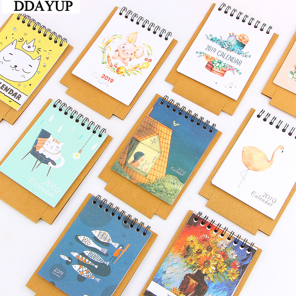 2019 New Cute Cartoon Calendar Creative Desk Vertical Paper Multi-function Storage Box Timetable Plan Notebook Calendars, Planners & Cards Calendar