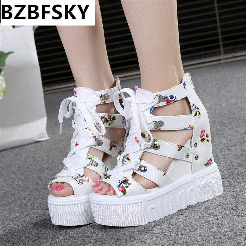 2017 Women Sandals Harajuku Summer New Fashion Platform Sandals Wedges Thick Bottom Casual Women Shoes High Heels Sandalias