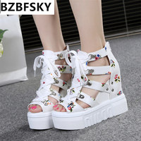 2017 Women Sandals Harajuku Summer New Fashion Platform Sandals Wedges Thick Bottom Casual Women Shoes High