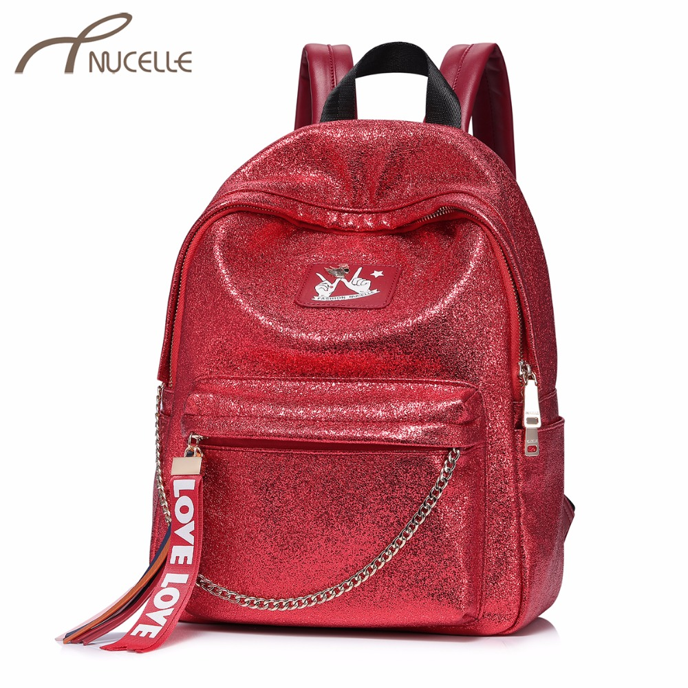 NUCELLE Women's Fashion Backpack Ladies Tassel Love Double Shoulder Bags Female Brand Student School Rucksack High Quality