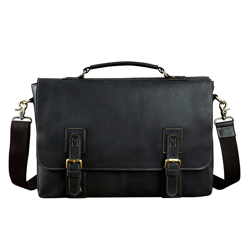 New Arrival Foreign Trade Import Men Retro Crazy Horse Leather Business Briefcase 15 Inches Big Capacity Laptop Bags