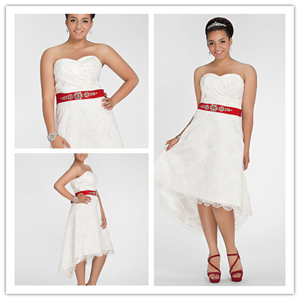 Off the shoulder short front long back lace white red for Short red and white wedding dresses