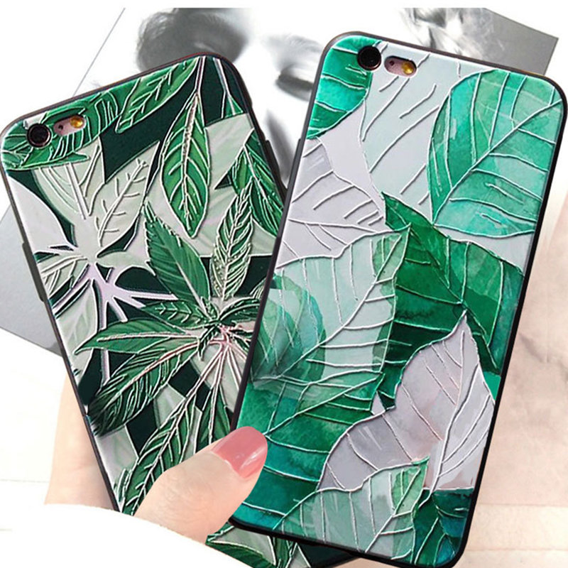 3D Relief Fresh green leaves Cases For Iphone 6 6s TPU Silicone Soft Cover Case For Iphone 7 8 plus X in Half wrapped Cases from Cellphones Telecommunications