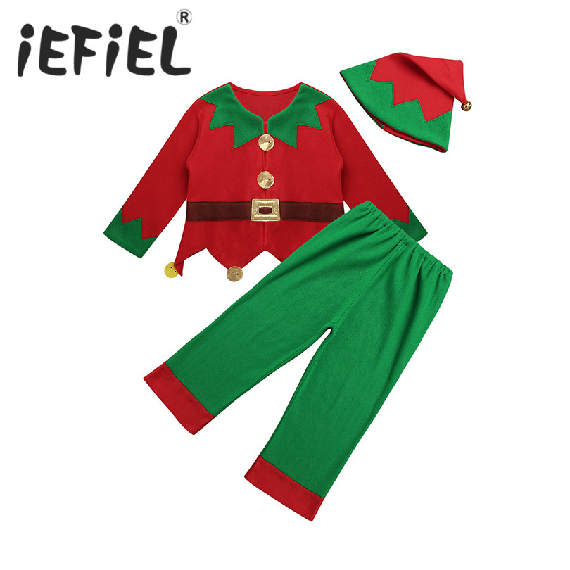Unisex Children Kids Boys Elf Costume Christmas Fancy Dress up Festive Outfit Tops Trousers with Hat Set for Fancy Party Cosplay
