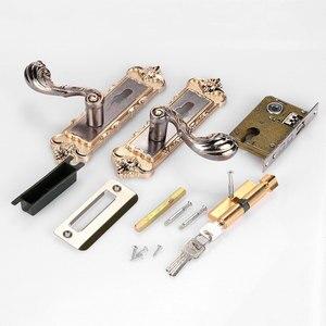 Image 3 - 1 Set Vintage Door Lock European Style Retro Bedroom Door Handle Lock Interior Anti theft Room Safety Door Lock