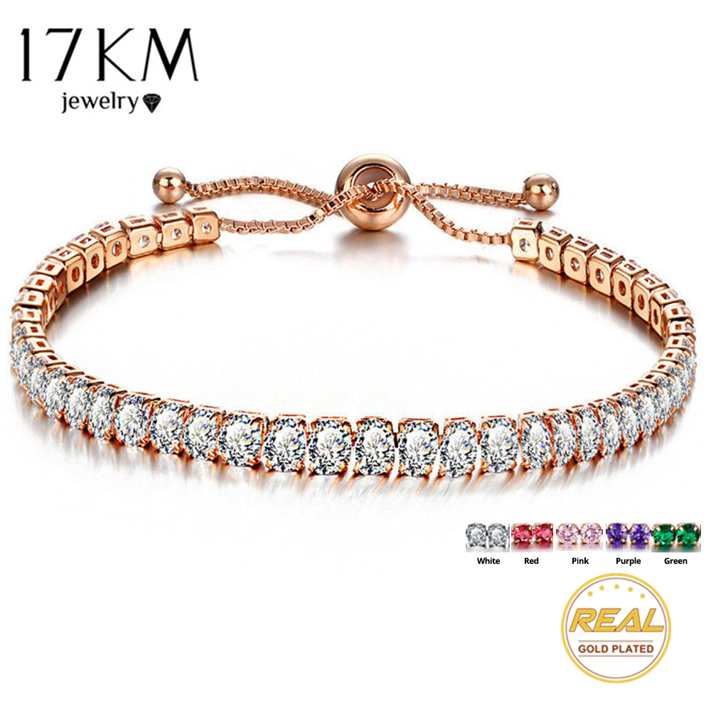 17KM Fashion Cubic Zirconia Tennis Bracelet & Bangle Adjustable Pulseras Mujer Charm Bracelet For Women Bridal Wedding Jewelry