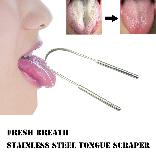 Rascador de lengua de acero inoxidable de alta calidad limpiador de aire fresco recubierto de limpieza TongueToothbrush herramientas de higiene bucal Dental