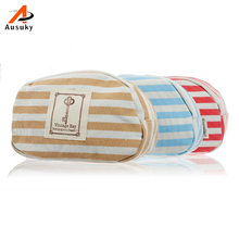 Beautician Striped Canvas Pouch Necessaire Trip Beauty Women Travel Toiletry Kit Make Up Makeup Case Cosmetic Bag Organizer 45