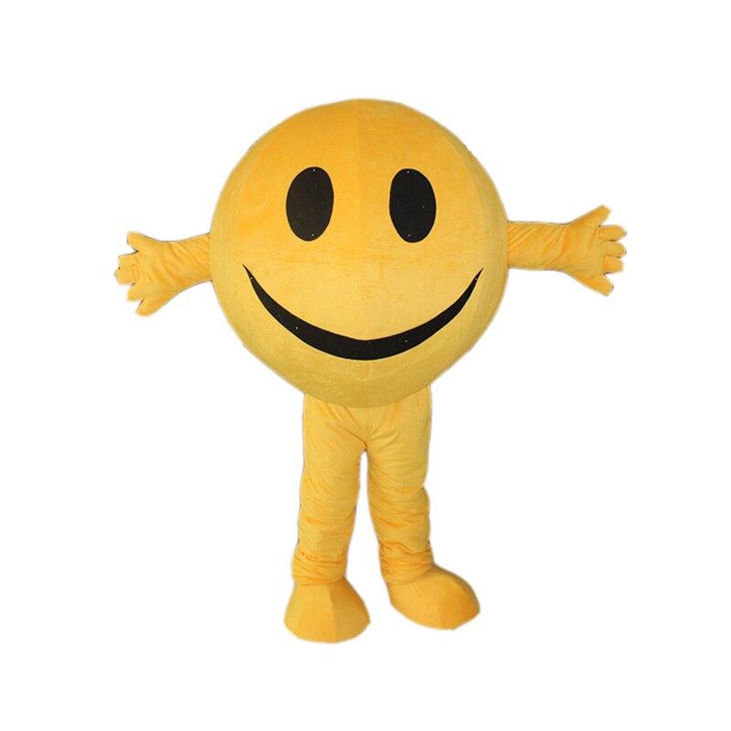 Adulto Feliz Emoji Rosto Sorridente de Carnaval Traje Da Mascote Vestido de Festa Festival de Publicidade Comercial Com UM Mini Ventilador Dentro Da Cabeça
