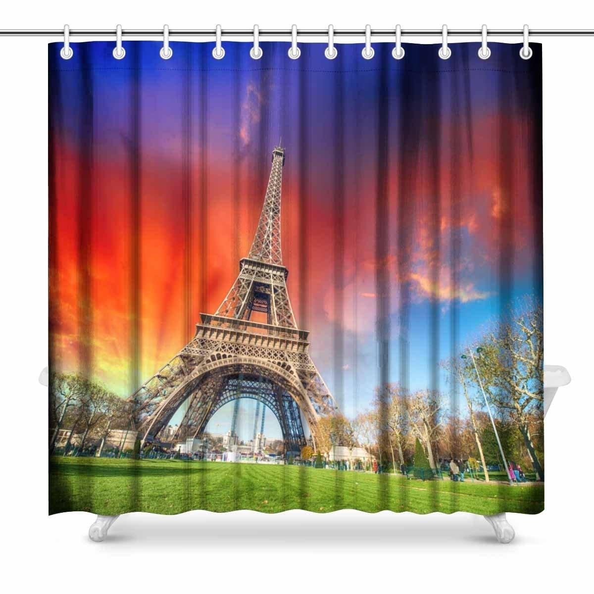 Minnelijk Aplysia Parijs Frankrijk Wonderful View Van Tour Eiffel Met Tuinen En Kleurrijke Sky Print Polyester Stof Douchegordijnen Glanzend Oppervlak