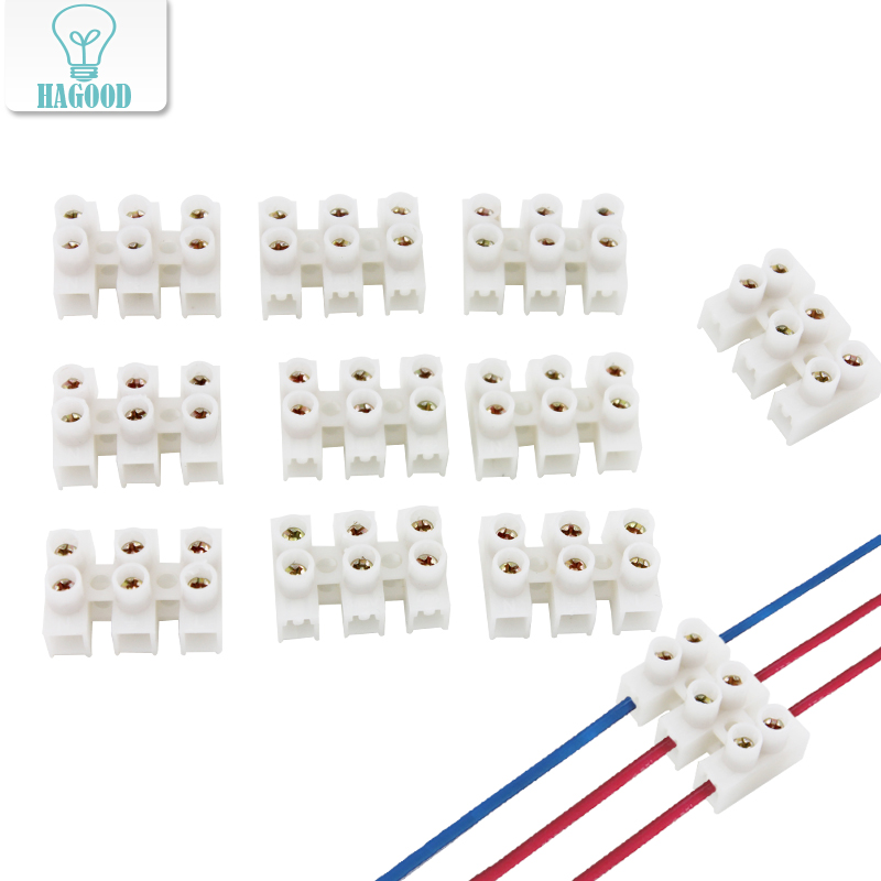 10pcs 3-digit terminal block 10A Screw Connector with no welding Flame retardant Quick Connector Fit for Accessories Equipment