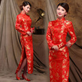 Traditional Long Qipao Dress Red Side Slit Satin Long Sleeve Party Cheongsam Chinese Clothing for Women