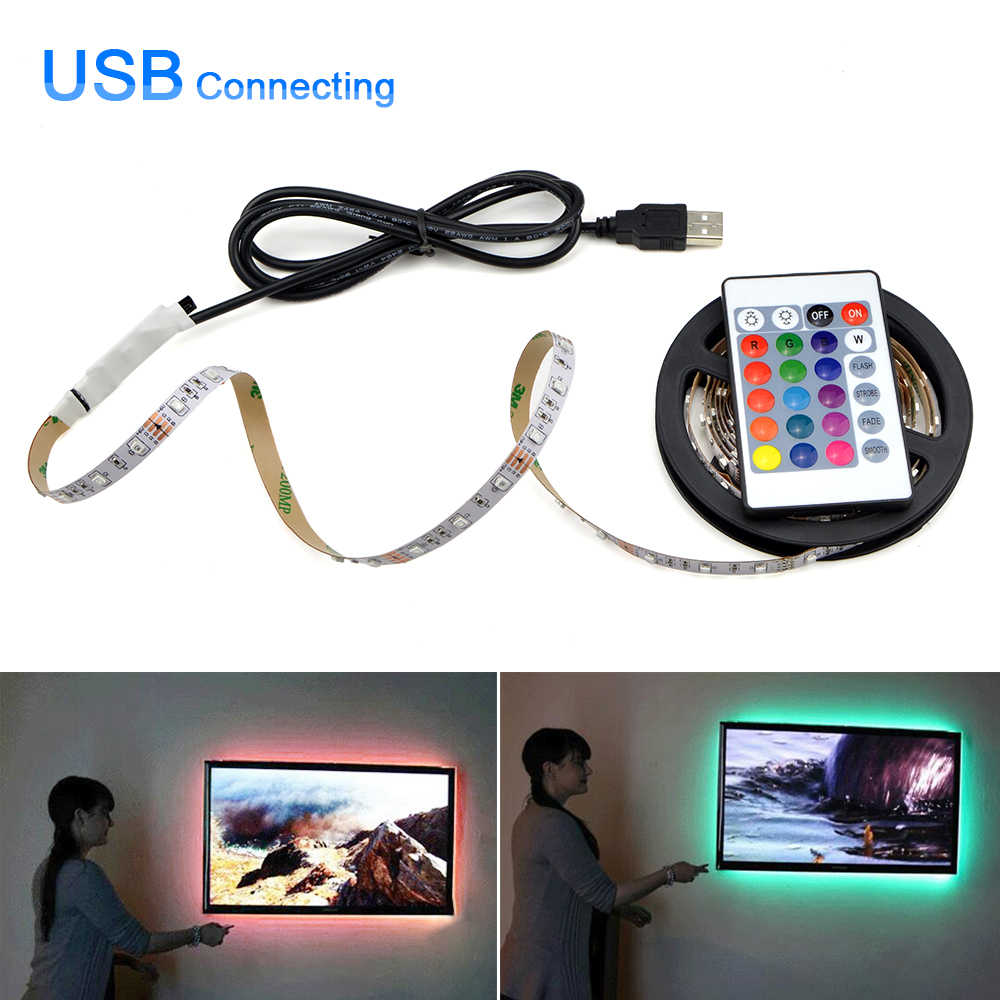 5 V USB Power Lampu LED Strip SMD 2835 RGB LED Di Bawah Kabinet Lampu HDTV TV PC Desktop Layar Lampu Latar lemari Dapur Pencahayaan