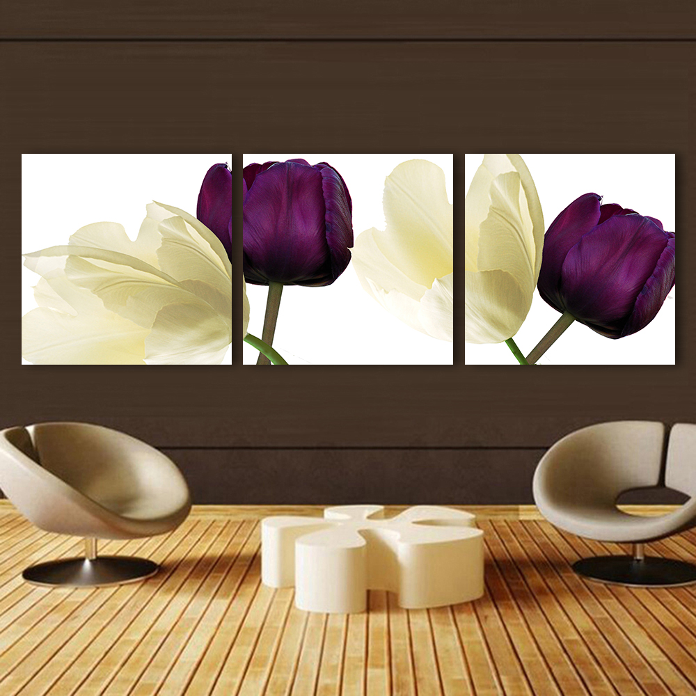Qkart 3 Pcs Picture Purple White Flowers Oil Painting Wall Pictures
