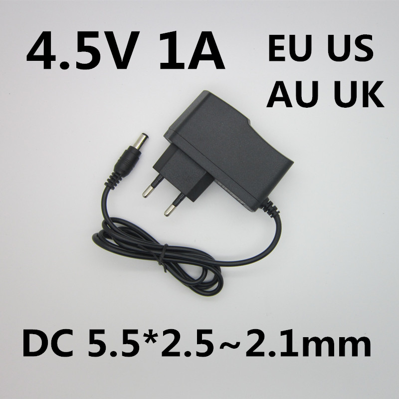 1PCS High quality AC 110v-240v 4.5V 1A 1000mA power adapter 4.5 V Volt LED 4.5V1A power supply DC 5.5*2.5~2.1 MM
