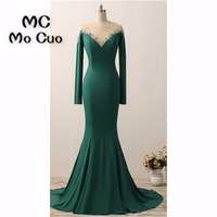 2018 Teal Mermaid Prom Dresses Long Sleeves Beaded Count Train Formal Evening Party Dress for Women 100% Real Sample
