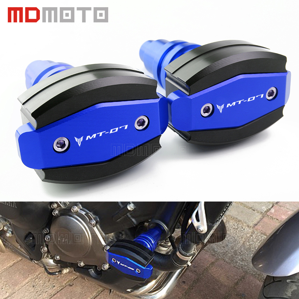 For Yamaha MT07 MT-07 FZ MT 07 FZ07 2014-2017 blue CNC Motorcycle Crash Pads Frame Sliders Protector cover Motorbike accessories for yamaha mt 07 fz 07 mt07 fz07 2014 2016 motorcycle accessories cnc aluminum engine protector guard cover frame slider blue