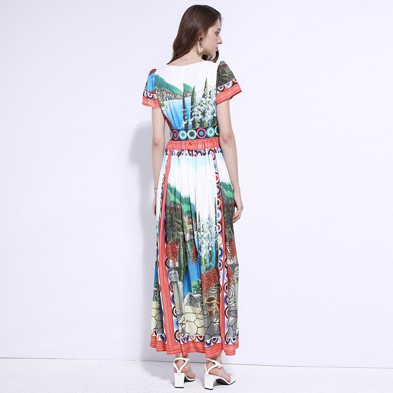 0c0b818a9e7 Frühling Floral Neck Qualität Frauen Bunte Weiß Gedruckt Boho Lange Kleid  Kleider Grün V Design Hohe ...