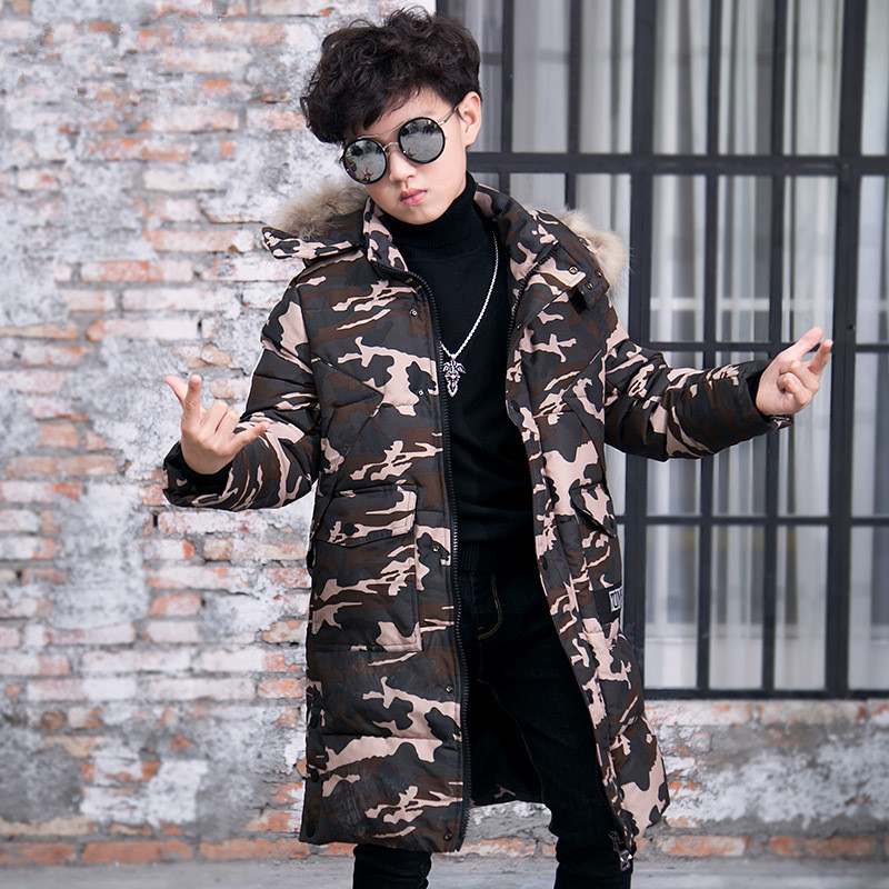 2017 Camouflage Coats High Quality Children's Winter Outerwear Long Parkas Warm Cotton Coat Kids Hooded Parkas Fur Collar Jacket 2017new women s winter cotton jacket long section fur collar hooded outerwear high quality thick warm parka female overcoatlu408