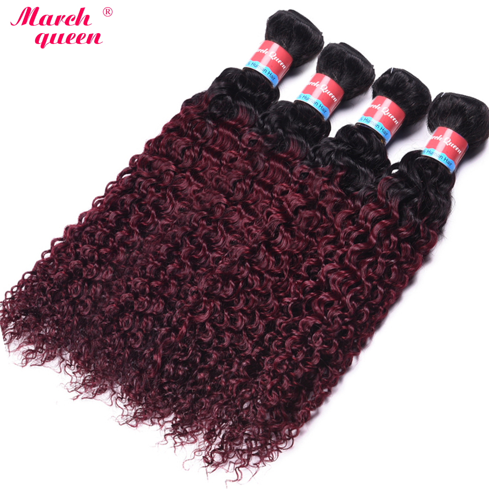 Hair Extensions & Wigs T1b/99j Malaysian Kinky Curly Hair 4 Bundles Ombre Human Hair Extensions 2 Tone Black To Red Wine Color Hair Weave Carefully Selected Materials Hair Weaves