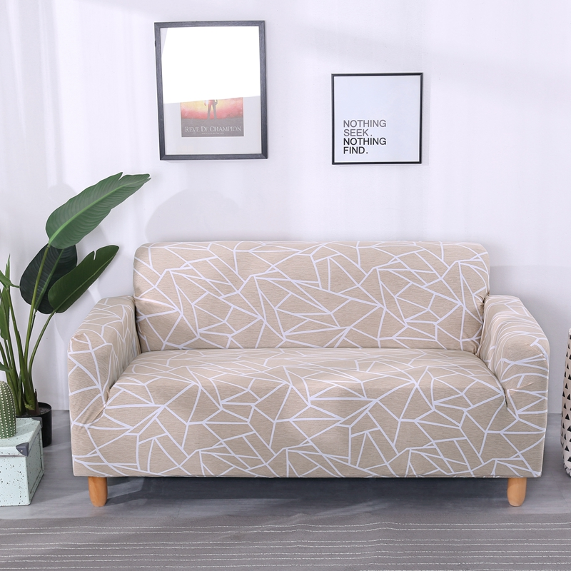 Beige Stripes Universal Couch/Corner Sofa Covers For Home Elastic Stretchy Sectional Sofa Slipcovers Multi-size Cheap Slipcovers